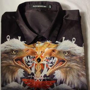 Alexwiner Wu Black Eagle Design Dress Shirt